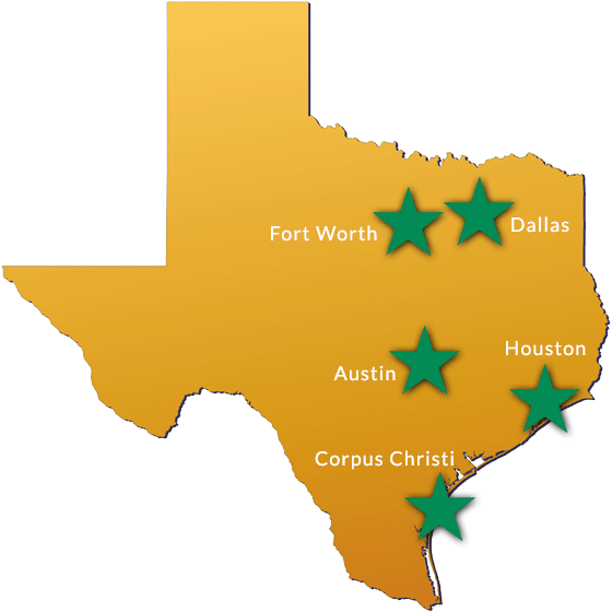 Markets Served By Superior Landscapes - Fort Worth, Dallas, Austin, Houston, Corpus Christi